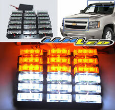 WATERPROOF WHITE/AMBER 54 LED WARNING STROBE KIT AS RESCUE/TRAFFIC/ADVISOR LIGHT