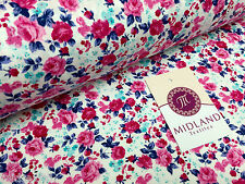 "Floral Rose Print 100% Cotton Fabric 44"" Wide dressmaking M345"