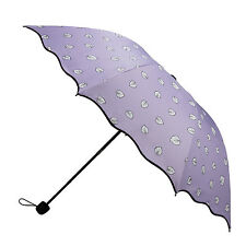 HOT Magic Color Changing Lavender Leaves Umbrella Rain Windproof Anti-UV Parasol