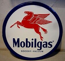 Mobilgas Pegasus Mobil Gas Station Round Metal Tin Sign, Retro repro gas sign