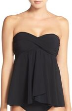 $98 Profile By Gottex Tankini Top ONLY with Optional Straps Black Size 12