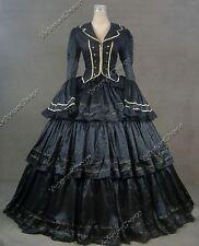 Victorian Civil War Black Brocade Dress Gown Theater Steampunk Clothing 188 Xl