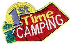 Girl Boy Cub tent 1st TIME CAMPING Fun Patches Crests Badges SCOUTS GUIDE First
