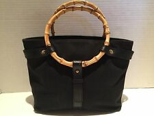 RALPH LAUREN Bamboo Ring Handle Black Canvas Leather Beach Bucket Handbag Purse