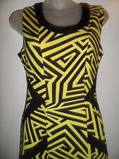 Kardashian Kollection NWOT XS Dress Neon Yellow Black Geometric Open Back Party