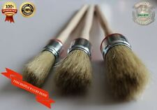 #BR3a CHALK bsd PAINT WAX pure bristle SHABBY CHIC SET 3 round BRUSHES 20,25,30