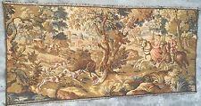 Antique french tapisserie chasse scen 74 par 155 cm