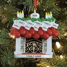 FIRE PLACE MANTLE STOCKING FAMILY OF 9 PERSONALIZED CHRISTMAS TREE ORNAMENT 2016