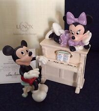 Lenox Disney Minnie Mickey's Musical Melody Piano Figurine New In Box W/COA