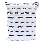 Mustache Wet Dry Bag Baby Cloth Diaper Nappy Bag Reusable With Two Zipper Pocket