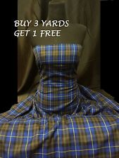 Genuine Royal Blue Grey Plaid Tartan Woven Poly-Viscose Dress Fabric Material