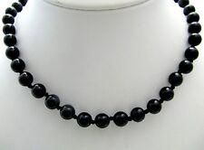Halskette Kette Edelsteine Onyx Kugel schwarz Mineralien 88cm