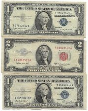 100% Old US 1935 1957 Blue Silver Collection Lot 1953 Two Dollar Bill Red Seal!!