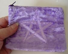 LILAC VELVET PENTAGRAM ZIPPER BAG COIN PURSE Wicca witch Pagan Goth