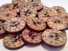 10 UNUSUAL BIRD AND CLOCK DESIGN WOODEN BUTTONS SEWING CRAFT SCRAP BOOKING