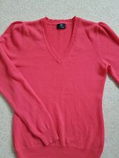 IMMACULATE 100% CASHMERE CORAL PINK ORANGE V NECK JUMPER SMALL 8 10
