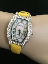 GENEVA LADIES/TEEN RHINESTONE WATCH WITH YELLOW LEATHER BAND