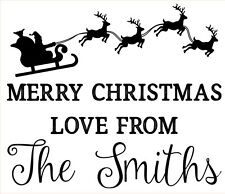 Personalised Laser Rubber Stamp - Merry Christmas: Santa Sleigh