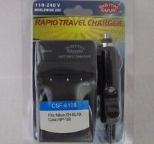 NIKON ENEL19/CASIO NP120 CSF6109 Wall & Car Charger by Digital Sunflash -Black