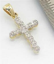 Natural 11 Diamond 9K 9ct 375 Solid Gold Cross Pendant Full Solid Gold