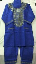 African Clothing Men Pant Suit Outfit R Blue Gold Plus Doesn'tCome L XL 1X 2X 3X