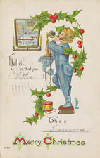 A98   1914  POSTCARD CHRISTMAS GREETING HENDERSON LITTLE   BOY ON TELEPHONE