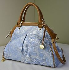 Brahmin Blue Lyon Rose Floral Embossed Leather Louise Satchel