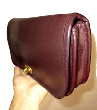 Vtg 70s Coach NYC Cashin Dinky Bag Clutch Handbag Purse Baguette Burgundy Brown