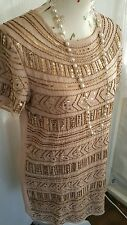 Vtg 1920,s style Jazz Age Gatsby nude pink gold beaded flapper dress size 14