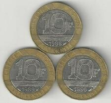 3 DIFFERENT BI-METAL 10 FRANC COINS from FRANCE (1988, 1989 & 1990)