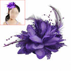 Purple Flower Feather Bead Wrist Corsage Bridal Hair Clip Pin Brooch Headpiece