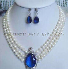 """17""""-19"""" 3 rows 6-7mm white pearl sapphire pendant necklace earrings"""