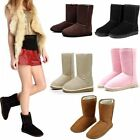 Winter Boot Women Girl Warm Suede Fur Lined Mid-calf Snow Flat Short Shoes Black