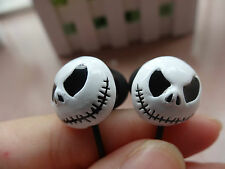 Halloween White Skull Skeleton Stereo Bass w/Mic Earphones Headset Earbuds Gift