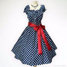 Blue & White Polka Dot 50s PIN UP ROCKABILLY SWING DRESS Plus Size 24 26 28