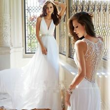 New  V-Neck Chiffon Beach Wedding Dresses Bridal Gown Custom