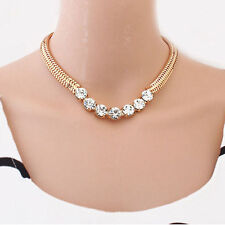 Vintage Necklace Gold Thick Chain Street Snap Lady Shiny Rhinestones Jewelry