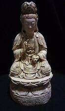 Vintage White Kwan Yin Buddha Statue with Ivory finish