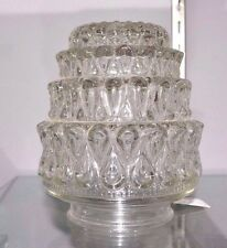 """Vintage Clear ACORN SHAPE Swirl Tiers Glass Light Replacement GLoBe 3.25"""" Fitter"""