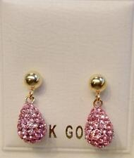 New 14k Solid Gold Crystal Pink Briolette Earrings-Free Shipping!