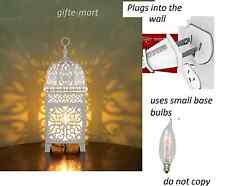 plug in WHITE punched Moroccan electric LANTERN bedside Table Lamp night light