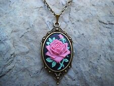 ROSE CAMEO PENDANT NECKLACE!!! (PINK/BLACK) - SET IN BRONZE!!! CHRISTMAS!!!!
