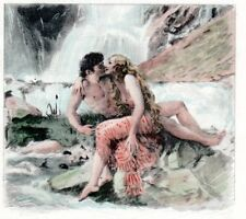 SUPER HOT Nude SEDUCTRESS Woman WATERFALL P.  Becat Vintage Art Print ~MATTED~!