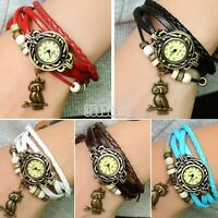Vintage Women Owl Pendant Weave Wrap Quartz Leather Wrist Watch Bracelet E B5UT