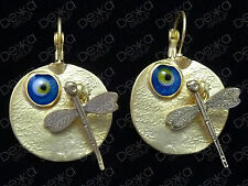 Gold Disc With Lucky Evil Eye  & Dragonfly Earrings Turkish Nazar Greek Mati