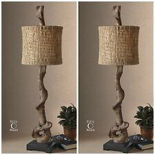 TWO BROWN WEATHERED DRIFTWOOD TABLE LAMPS BLACK BASE NATURAL TWINE SHADE LIGHT