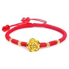 New Arrival Real 24k Yellow Gold Bangle Women Lucky Rose Flower Knitted Bracelet