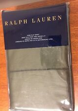 Ralph Lauren 624 Solid Sateen King Flat Sheet Tweed Green Olive MSRP $185 NEW