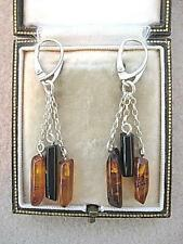 Deco Inspired Genuine Honey Amber & Jet Silver Drop Earrings