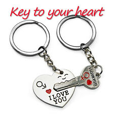 "1 Pair Cute ""I Love You"" Heart+Arrow + Key Couple Keyring to Your Lover"